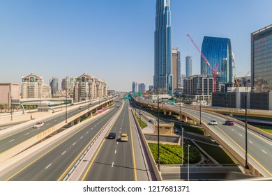 DUBAI, UAE, MARCH 10, 2017: Intersection of Al Safa street and Sheikh Zayed road in Dubai, United Arab Emirates.