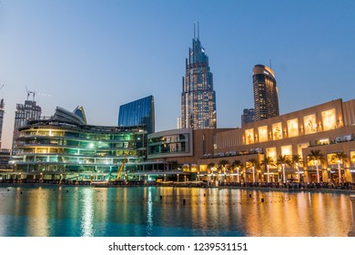 DUBAI, UAE - MARCH 10, 2017: Evening view of the Dubai Mall, one of the largest malls in the world.