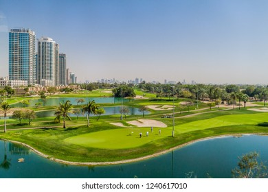 DUBAI, UAE - MARCH 10, 2017: View of Emirates Golf Club, an 36-hole golf course in Dubai.