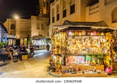 DUBAI, UAE - MARCH 11, 2017: Night view of Madinat Jumeirah souq in Dubai, United Arab Emirates