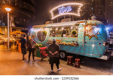 DUBAI, UAE - MARCH 12, 2017: Frings food truck in Dubai Marina, United Arab Emirates