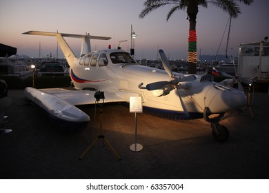 "DUBAI, UAE - MARCH 13: Wig Craft ( Wing-in-ground effect ) Craft ""AQUAGLIDE-5"" on display during Dubai Boat Show 2010 at Dubai Marina Yacht club March 13, 2010 in Dubai, United Arab Emirates."
