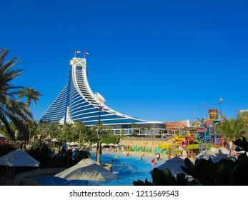 DUBAI, UAE - MARCH 14, 2014: view at Jumeirah Beach Hotel in Wild Wadi Waterpark in Dubai