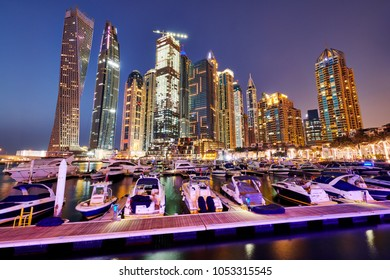 DUBAI, UAE - March 17 :The Dubai Marina Skyline, captured after sunset on March 17, 2018 in Dubai, United Arab Emirates