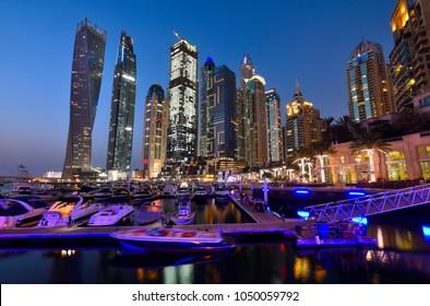 DUBAI, UAE - March 18 :The Dubai Marina Skyline, captured after sunset on March 18, 2018 in Dubai, United Arab Emirates