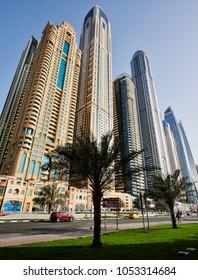 DUBAI, UAE - March 18 :The Dubai Marina Skyline, captured on March 18, 2018 in Dubai, United Arab Emirates