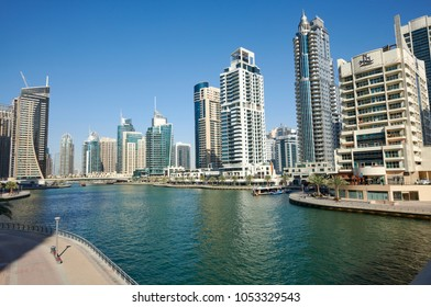 DUBAI, UAE - March 20 :The Dubai Marina Skyline, captured in day light on March 20, 2018 in Dubai, United Arab Emirates