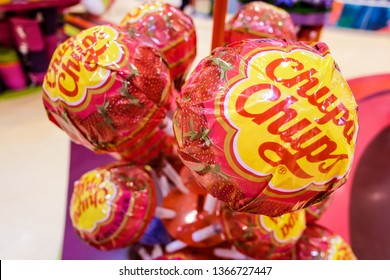 DUBAI, UAE - MARCH, 2019: Big lollipops Chupa Chups in the candy store Candylicious in the Dubai Mall in UAE