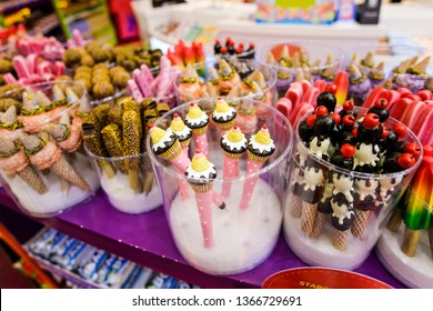 Dubai, UAE - March, 2019: Multicolor sweets ice cream in Candies shop Candylicious - Candy Store at The Dubai Mall, United Arab Emirates