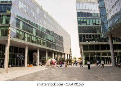 Dubai, UAE, March 2019: streets view of Dubai Design District