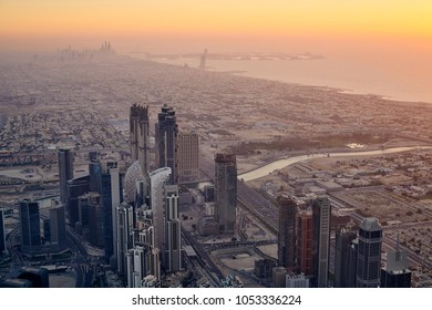 DUBAI, UAE - March 20th 2018 :The view from Burj Khalifa, captured by sunset.