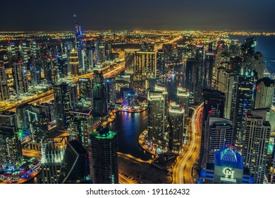 DUBAI, UAE - MARCH 21: Beautiful aerial view of Dubai Marina just after the sunset in Dubai March 21, 2014