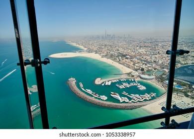 DUBAI, UAE - March 21st 2018 :The view from Sky Bar in seven stars luxury hotel Burj Al Arab,  Dubai, United Arab Emirates