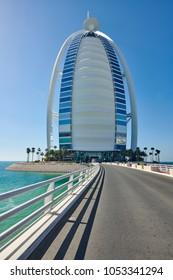 DUBAI, UAE - March 21st 2018 : Arrival to the seven stars luxury hotel Burj Al Arab,Dubai, United Arab Emirates