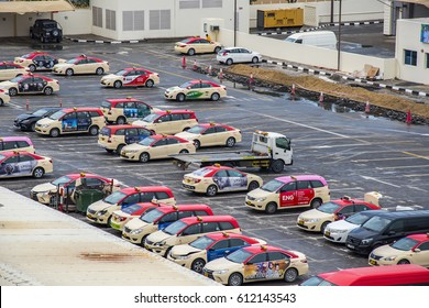 DUBAI, UAE - MARCH 23 - Dubai has a fleet of modern air-conditioned, metered taxis, clean and well-maintained. Picture taken on MARCH 23, 2017.