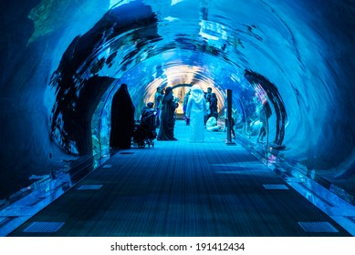 DUBAI, UAE - MARCH 28, 2014: People walking inside the Oceanarium tunnel iat Dubai Mall. At over 12 million sq ft, it is the world's largest shopping mall.