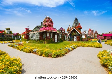 DUBAI, UAE - MARCH 28:  Houses in Dubai Miracle Garden in the UAE on March 28, 2015. It has over 45 million flowers.