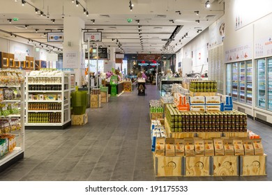 DUBAI, UAE - MARCH 29, 2014: Interior view of Eataly shop inside Dubai Mall. At over 12 million sq ft, it is the world's largest shopping mall.