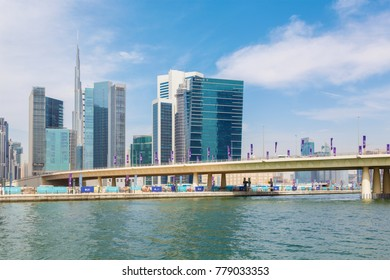 DUBAI, UAE - MARCH 29, 2017: The new Canal and skyscrapers of Downtown.