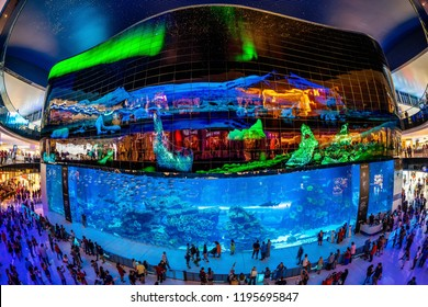 Dubai, UAE - March 29 2018 : The iconic indoor aquarium in Dubai mall with a huge screen on the top.