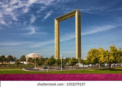 Dubai, UAE - March 29, 2019: Dubai Frame building.