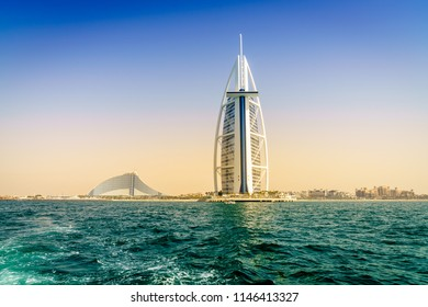 Dubai, UAE, March 31, 2017: seaside view of world's famous Burj Al Arab and Jumeirah Beach hotels