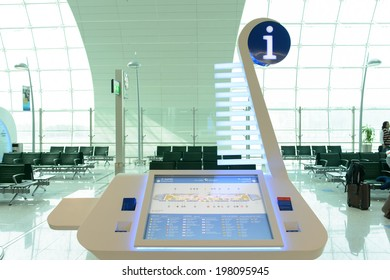 DUBAI, UAE - MARCH 31: information kiosk on March 31, 2014 in Dubai. Dubai International Airport is a major airline hub in the Middle East, and is the main airport of Dubai.