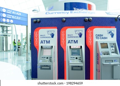 DUBAI, UAE - MARCH 31: travelex atm in airport on March 31, 2014 in Dubai. Travelex Group is a foreign exchange company founded by Lloyd Dorfman and headquartered in London.