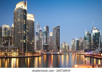DUBAI, UAE - MARCH 5: Skyscrapers in Dubai Marina at sunset, on March 5, 2013,  in Dubai, United Arab Emirates.