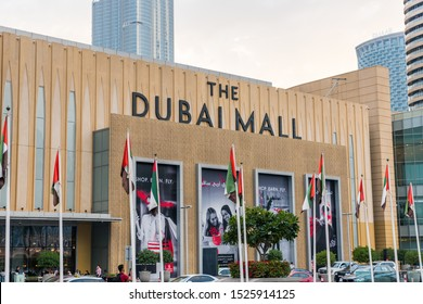 Dubai, UAE, March 6th, 2019,  Main entrance of the Dubai Mall, the world's largest destination for shopping, entertainment and leisure located next to the world's tallest building, the Burj Khalifa.