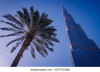DUBAI, UAE - MARCH 8, 20177: Burj Khalifa building in Dubai. It is the tallest building in the world. It is owned by Emaar Properties.
