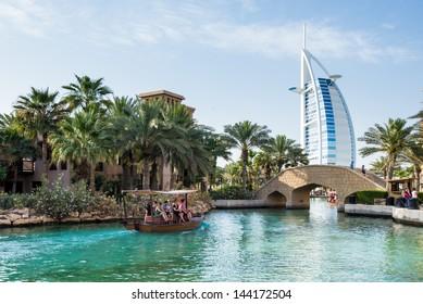 DUBAI, UAE - MAY 03: Burj Al Arab hotel on May 03, 2013 in Dubai. Burj Al Arab is the fourth tallest hotel in the world. Architect Tom Wright. View from Madinat Jumeirah, largest resort in Dubai