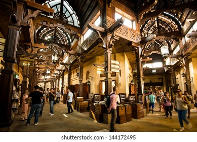 DUBAI, UAE - MAY 03: The Madinat Souk at Madinat Jumeirah Hotel on May 03, 2013 in Dubai. The traditional Arabian souk is a shopping paradise located in one of the Jumeirah Group's flagship resorts.