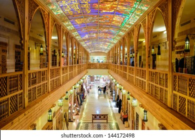 DUBAI, UAE - MAY 04: Khan Murjan Souk interior in Wafi Mall on May 04, 2013 in Dubai. The souk was built with influences from Egyptian, Syrian, Turkish and Moroccan architectural styles.