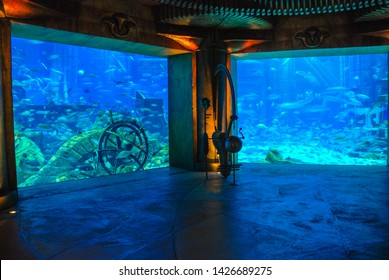 DUBAI, UAE - MAY 10, 2009: The Lost Chambers Aquarium at The Aquaventure Waterpark, The Atlantis Hotel The Palm.  Atlantis-themed aquarium with underwater halls & tunnels housing marine life.