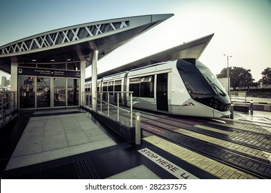 DUBAI, UAE - May 10: New tram service in the city of Dubai. December 16, 2014 in Dubai, United Arab Emirates