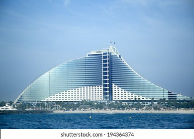 DUBAI, UAE -  MAY 10:Jumeirah Beach Hotel on May 10, 2014 in Dubai.  9th tallest building in Dubai