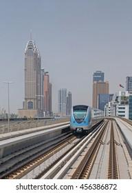 DUBAI, UAE - MAY 12, 2016: outdoor metro