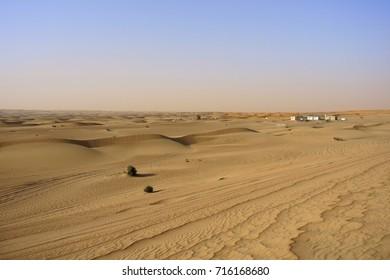 Dubai, UAE : May 2015, Desert landscape view on sunny day.