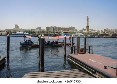 Dubai, UAE : May 2015, Water taxis on Dubai Creek.