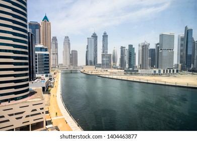 DUBAI, UAE - MAY, 2019: JW Marriott marquis hotel in Dubai. Business Bay area.