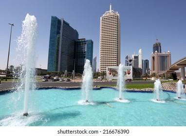 DUBAI, UAE - MAY 27: Fountain at the Dubai World Trade Centre. May 27, 2011 in Dubai, United Arab Emirates