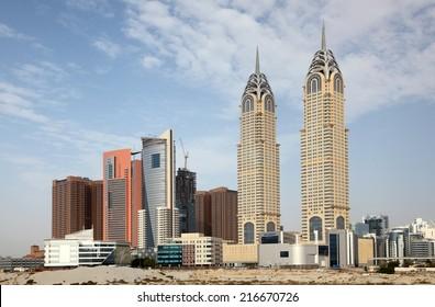 DUBAI, UAE - MAY 30: Skyscrapers at the Dubai Media City. May 30, 2011 in Dubai, United Arab Emirates