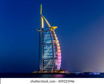 Dubai, UAE - May 31, 2013: The Burj El Arab hotel at night