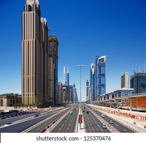 DUBAI, UAE - MAY 7 - E11 highway is the longest road in the UAE. It crosses Dubai where it is called the Sheikh Zayed Road. Graced with skyscrapers on both sides. Picture taken on May 7, 2010.