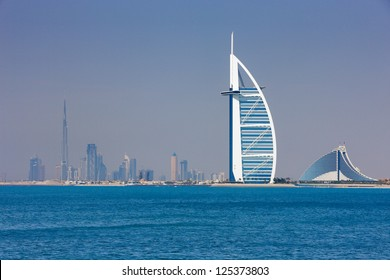 DUBAI, UAE - MAY 7 - Dubai has become known as the playground for architects and any skyline view will testify to that. This rare panorama showing Burj Khalifa and Burj Al Arab was taken in 2010.