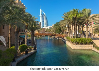 DUBAI, UAE - NOV 12, 2018: View of Burj Al Arab hotel from Madinat Jumeirah hotel. Madinat is a luxury resort which includes hotels and souk covering an area over 40 hectars.