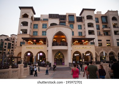 DUBAI, UAE - Nov 23, 2013: Souk al Bahar building exterior at Business Bay, Dubai; Souk al Bahar (Market of Sailor) is a mix of traditional and modern restaurants and shops.