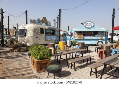 DUBAI, UAE - NOV 27, 2016: Last Exit food trucks park on the E11 highway between Abu Dhabi and Dubai, United Arab Emirates