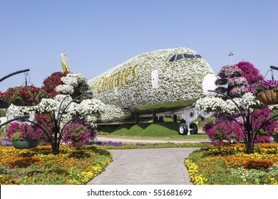 DUBAI, UAE - NOV 27, 2016: Emirates Airbus A380 made of Flowers at the Miracle Garden in Dubai. United Arab Emirates, Middle East